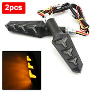 2x Motorcycle Led Turn Signals Flowing Water Blinker Lights Indicator Amber Lamp