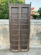 17th C Ancient Wooden Hand Carving Iron Cover Indian Royal Home Fort Window Door