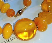 Certificate Royal Amber Baltic Necklace 14k 585 Yellow Gold Japan 9-20mm Egg