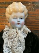 China Head Doll, Blonde With Slight Turn To Head, Dressed As A Boy, 1870's
