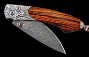 William Henry B12 Majestic Carved Silver And Damascus Folding Knife