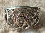 Vintage Sterling 925 Ring With Raised Grill And Multiple Clear Stones Size 6.75.