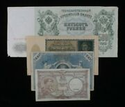 Belgium, Germany And Russia Misc 4-notes Lot // Francs, Mark And Rubles