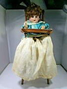 Adorable Antique Bisque Doll In High Chair Mark Unknown