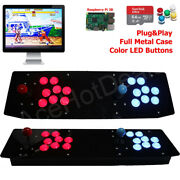 Tabletop Arcade Retro Game Console Raspberry Pi 3b Led Buttons Metal Case 64g