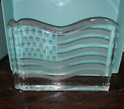 And Co Crystal American Flag Paperweight Val St. Lambert De Sores