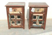 2 Pc Wooden Rustic Bed Side/nightstand/end Table Rustic Home Decor Bn39