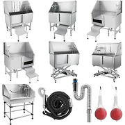 34 38'' 50 62'' Pet Dog Wash Tub Cat Shower Grooming Bath Tub Stainless Steel