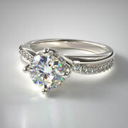 Round 0.70 Ct Real Diamond Ladies Engagement Rings Solid 14 K White Gold Size 7