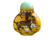 Antique Chinese Hand Painted Egg Yolk Butterscotch Glass Snuff Bottle With Tiger