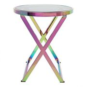 18 W Set Of 2 Accent Table Holographic Finish Stainless Steel Tempered Glass