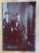 Antique Tintype Photograph 2 Men Civil War Medals Ribbons Unusual Angle Photo