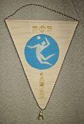 Bulgaria Federation Of Volleyball Vintage 1976 Embroidered Banner Flag Pennant