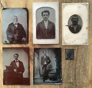 6 Antique Tintype Photographs Men Suits Young Old Walking Stick Cane Top Hat Lot