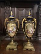Pair Of French Severs Urns Hand Painted Bronze Handles And Jewels. 1889 Rare