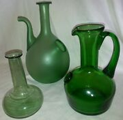 Vintage Green Glass Wine Pitcher And Ice Chiller Vase Bottles Decor Collectibles