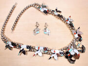 Bobby And Corraine Shack Zuni Sterling Hummingbird Necklace W/ Earrings X880c