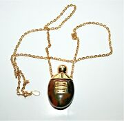 Vintage Signed Givenchy 1978 Gold-tone Brown Lucite Perfume Bottle Necklace