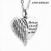 New Angel Heart Wings Ashes Keepsake Cremation Memorial Urn Necklace With Tool