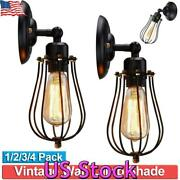 Us Wall Lamp Sconce Wire Cage Industrial Light Vintage Style Bedroom Porch Decor