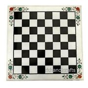 White Marble Game Table Top Hand Crafted Coffee Table For Kids Room 18 Inches