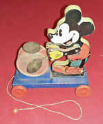 1937 Vintage Disney Fisher Price Mickey Mouse Drummer Pull Toy