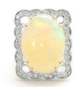11.00 Ct Natural Ethiopian Opal And Diamonds In 14k Solid White Gold Women Ring