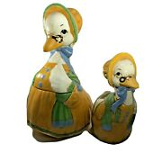 Vtg Handcrafted Mother Goose Scioto Ceramic Cookie Jar With Matching Planter
