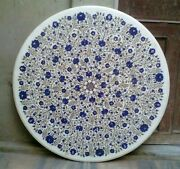 36 Inches Lapis Lazuli Stone Inlay Table Top Royal Marble Dining Table Top