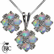 9ct White Gold Fiery Opal And Diamond Necklace Pendant And Stud Earrings Set British