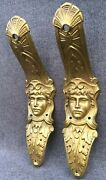 Big Antique Pair Of Furniture Ornaments Brass France Early 1900and039s Empire Style