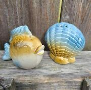 Ceramic Salt And Pepper Shakers Fish And Shell