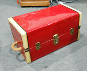 Vintage 1950and039s Red Tin Covered Doll Steamer Trunk 20