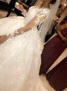 Beautiful All White Handmade Crystal Decorated Wedding Dress In Mint Condition