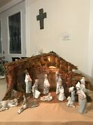 Lladro Nativity Childrenand039s Complete 11 Figurines Boxes And Lighted Manger Fastship