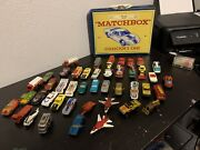 Vintage Matchbox Lesney Lot Of 44 Cars From 60's And 70's And 48 Car Case