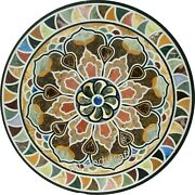 42 Inches Different Pattern Inlaid Meeting Table Top Round Marble Dining Table