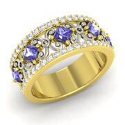 1.40 Ct Natural Tanzanite Diamond Eternity Band 14k Yellow Gold Size 5 6 4 8 7 9
