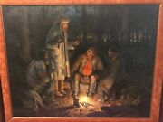 Bill Hughes American Trappers Night Camp Oil On Canvas 23 X 29 Mountain Man