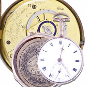 Rare Antique Verge Fusee Pair Case Pocket Watch Ca1810s With Diamond Endstones |