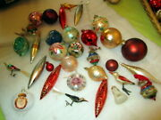 Old Christmas Tree Mercury Glass Ornaments With 4 Birds