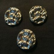 Antique 3 Large Textured Glass Floral Shank Buttons Silvertone Metallic Coat