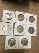 United States Silver Coin Lot With Proof Walking Liberty Halves Mercury Dimes