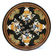 40 Inches Round Marble Dining Table Top Black Patio Table With Vintage Crafts