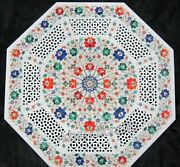 30 Inches Gemstones Inlaid Patio Table Top Carving Work Marble Coffee Table