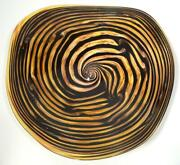 Hand Blown Glass Art Wall Bowl/table Platter Gold And Black Canes Dirwood N3586