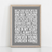 Rod Stewart Forever Young Song Lyrics Poster Print Wall Art