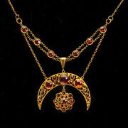 Antique Victorian Crescent Moon And Star Old Cut Garnet 15ct Gold Necklace C.1890