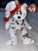 Ty Beanie Baby -christmas White Bear Bean Bag -with Holly Pattern 1998 W Tag