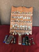Lot Of 45 Some Silver-plated Worldwide Souvenir Collector Spoons With Showcase